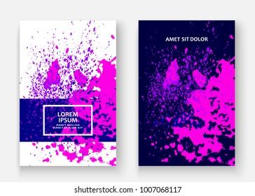 Neon explosion paint splatter artistic cover frame design. Decorative dust splash spray texture violet background. Trendy creative template vector Cover Report Catalog Brochure Flyer Poster Banner