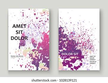 Neon explosion paint splatter artistic cover design. Fluid violet gradient dust splash texture background. Trendy creative template vector Cover Report Catalog Brochure Flyer Product