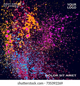 Neon explosion paint splatter artistic cover frame design. Decorative orange splash spray texture purlpe dark background. Trendy template vector Cover Report Catalog Brochure Flyer Poster Banner