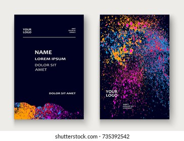 Neon explosion paint splatter artistic cover frame design. Decorative orange splash spray texture purlpe dark background. Trendy template vector Cover Report Catalog Brochure Flyer Poster Banner