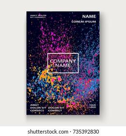 Neon explosion paint splatter artistic cover frame design. Decorative pink splash spray texture purlpe dark background. Trendy template vector Cover Report Catalog Brochure Flyer Poster Banner