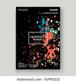 Neon explosion paint splatter artistic cover frame design. Decorative colorful splash spray texture white background. Trendy creative template vector Cover Report Catalog Brochure Flyer Poster Banner