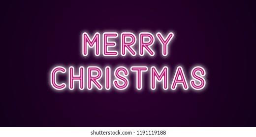 Neon festive inscription for Merry Christmas. Vector illustration of Merry Christmas text in Neon style with backlight, Pink and White colors. Isolated glowing lettering for decoration
