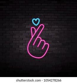 neon finger love heart vector illustration
