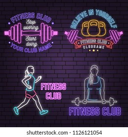 Neon fitness club sign on brick wall background. Vector illustration. Believe in yourself. Neon design for fitness centers emblems, gym signs related health and gym business. Advertisement sign.