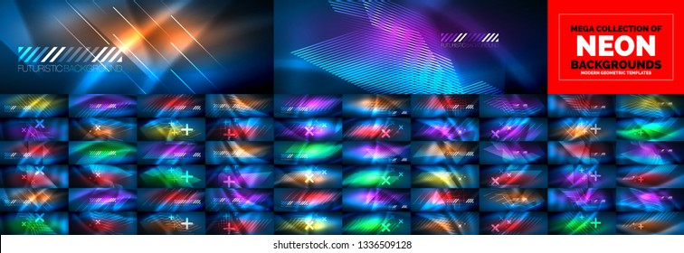 Neon flowing lines and waves vector backgrounds. Mega collection of particles waves flowing. 3d futuristic technology style.