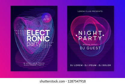 Neon flyer. Dynamic gradient shape and line. Minimal discotheque invitation set. Neon flyer trance event. Techno dj party. Electro dance music. Electronic sound. Club fest poster.