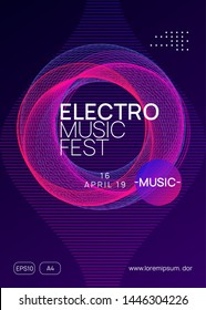 Neon flyer. Dynamic gradient shape and line. Commercial discotheque banner concept. Neon flyer trance event. Techno dj party. Electro dance music. Electronic sound. Club fest poster.