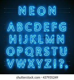 Neon font city. Neon blue font english. City blue font. Alphabet font. Vector illustration
