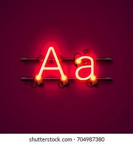 Neon font letter a, art design singboard. Vector illustration