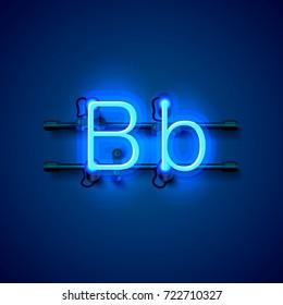 Neon font letter b, art design singboard. Vector illustration