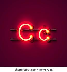 Neon font letter c, art design singboard . Vector illustration