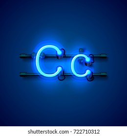 Neon font letter c, art design singboard. Vector illustration