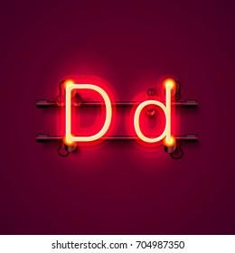 Neon font letter d, art design singboard . Vector illustration