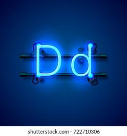 Neon font letter d, art design singboard. Vector illustration