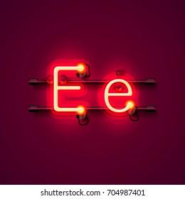 Neon font letter e, art design singboard . Vector illustration