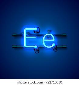 Neon font letter e, art design singboard. Vector illustration