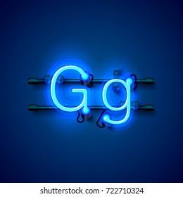 Neon font letter g, art design singboard. Vector illustration