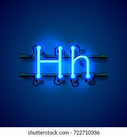 Neon font letter h, art design singboard. Vector illustration