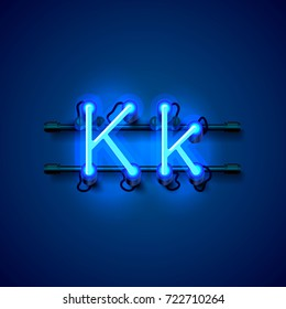 Neon font letter k, art design singboard. Vector illustration