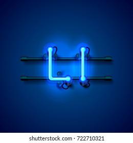 Neon font letter l, art design singboard. Vector illustration