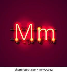Neon font letter m, art design singboard . Vector illustration