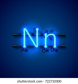 Neon font letter n, art design singboard. Vector illustration