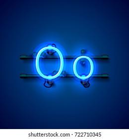 Neon font letter o, art design singboard. Vector illustration