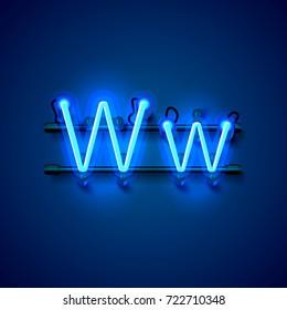 Neon font letter w, art design singboard. Vector illustration