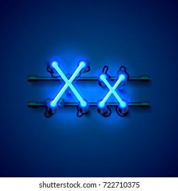 Neon font letter x, art design singboard. Vector illustration