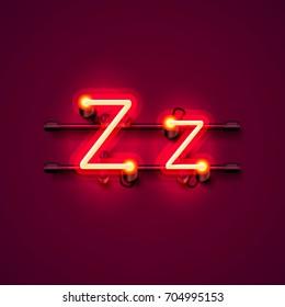 Neon font letter z, art design singboard . Vector illustration