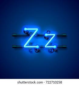 Neon font letter z, art design singboard. Vector illustration