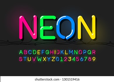 Neon font, modern alphabet letters and numbers vector illustration