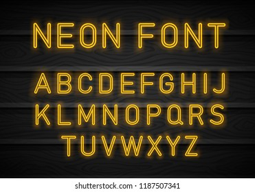Neon font on brick wall background. Light Neon Font Alphabet Vector. Bright blue red lamp electric illuminated decoration, retro vintage advertising illustration. Light Neon Font Alphabet Vector.