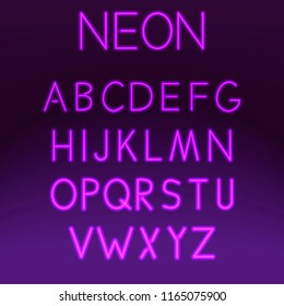 Neon font set night alphabet on purple background vector illustration. Letter electricity typography lamp type. Tube bright glowing typeset text design. Fluorescent illuminated abc font.