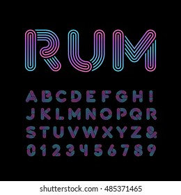 Neon font. Vector alphabet with neon stripes effect letters and numbers.