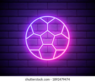 Neon football ball in pink color. Vector illustration of soccer ball consisting of outlines, with backlight on the dark brick wall background.