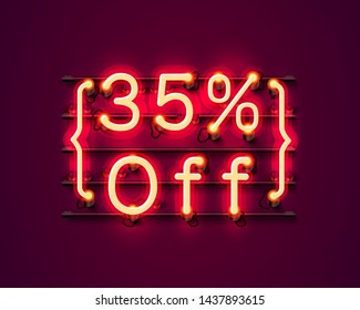 Neon frame 35 off text banner. Night Sign board. Vector illustration
