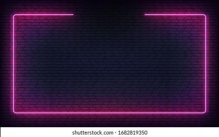 Neon frame border. Purple neon glowing background