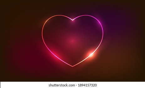 Neon frame in heart form with shining effects on dark background. Empty glowing techno backdrop. Vector illustration.