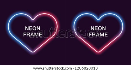 Neon Frame In Heart Shape Vector Template Of Border Blue And Red Color