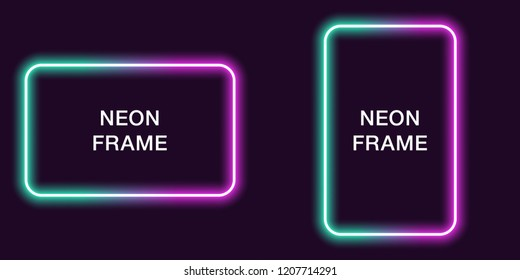 Neon frame in rectangular shape. Vector template of neon border in turquoise and purple color, creative glowing rectangular in outline. Background for design of banner and billboard, poster and cover