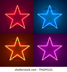 Neon frame sign in the shape of a star. Set color. template design element. Vector illustration