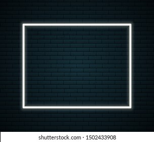 Neon frame with space for text on brick wall. Neon sign on dark background. Vector illustration