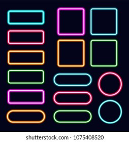 Neon frames set, vector illustration. Different shapes of luminous borders. Orange, blue, green, pink and red colors