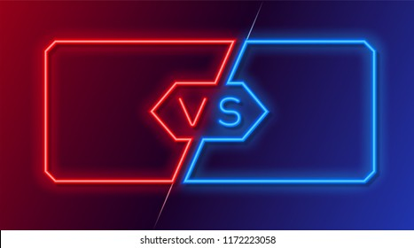 Neon frames for versus battle, sports and fight competition. Concept in neon style for two fighters. Vector illustration