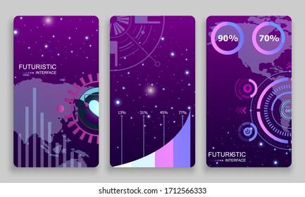 Neon Futuristic Banner Set. Hud Abstract Card Set. Modern Minimalist Banner Collection. Neon Design Poster. Vector EPS 10.