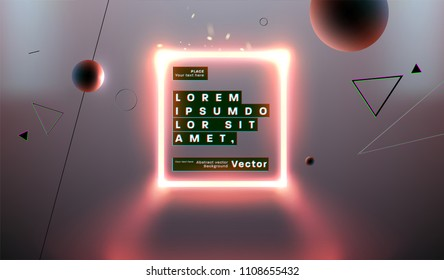 Neon futuristic glow background. Frame with geometric shapes. Eps10 vector illustration.