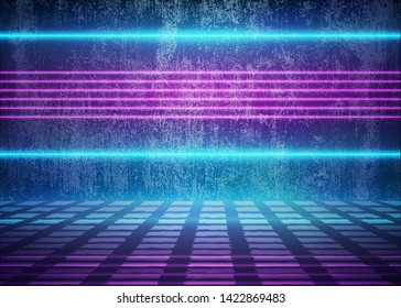 Neon Futuristic Glow Lights near the Dirty Grunge Wall, Stylized Cosmic Room, 3D Background with Violet Energy Lines, Conceptual Interior Style, Sci-Fi Fashion, Eps10 Vector Illustration - Vector
