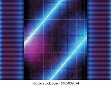 Neon Futuristic Glowing, Background with Abstract Glow Lights, Laser Lines on the Concrete Grunge Wall, Conceptual Modern Style. Eps10 Vector Illustration - Vector